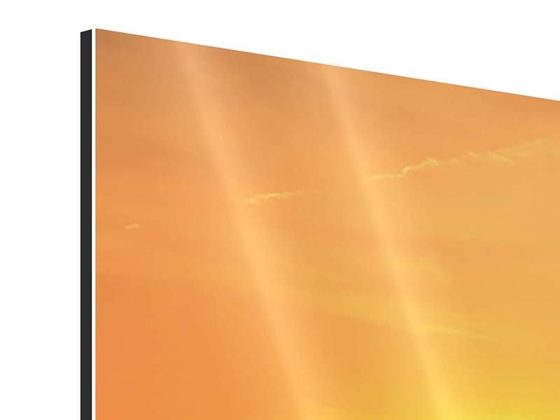 Aluminiumbild 4-teilig Heissluftballon bei Sonnenuntergang