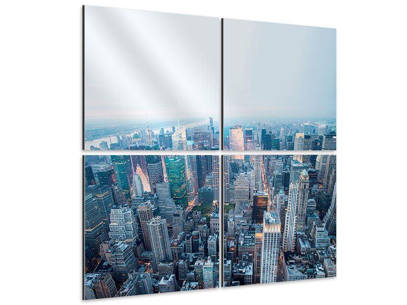 Aluminiumbild 4-teilig Skyline Manhattan in der Abenddämmerung
