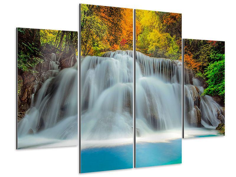 Aluminiumbild 4-teilig Fallendes Gewässer