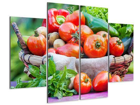 Aluminiumbild 4-teilig Gemüsekorb