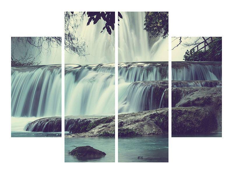 Aluminiumbild 4-teilig Wasserfall Mexiko