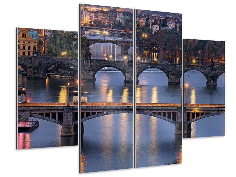 Aluminiumbild 4-teilig Brücken in Prag