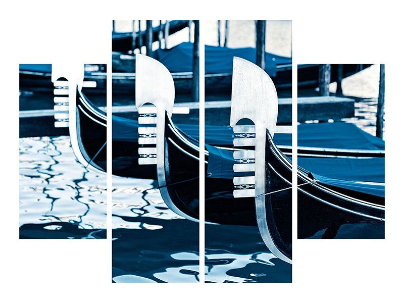 Aluminiumbild 4-teilig Gondeln in Venedig