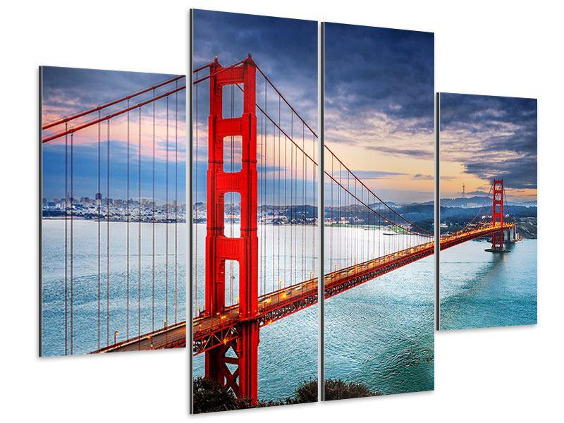 Aluminiumbild 4-teilig Der Golden Gate Bridge bei Sonnenuntergang