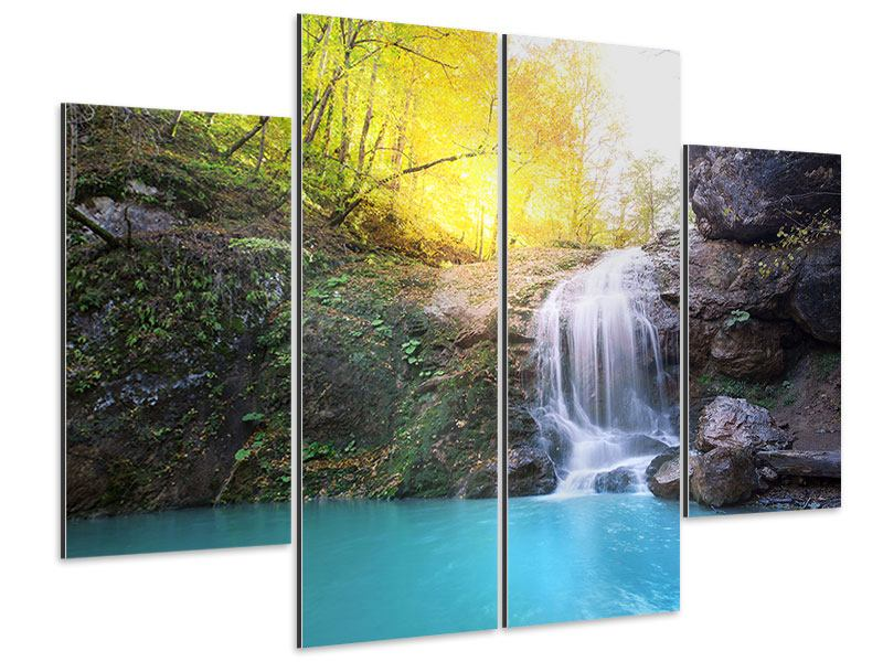 Aluminiumbild 4-teilig Fliessender Wasserfall