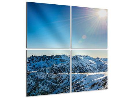 Aluminiumbild 4-teilig Berge im Schnee