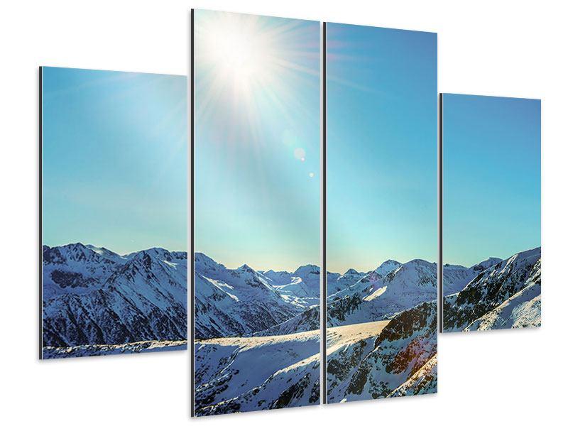 Aluminiumbild 4-teilig Sonnige Berggipfel im Schnee