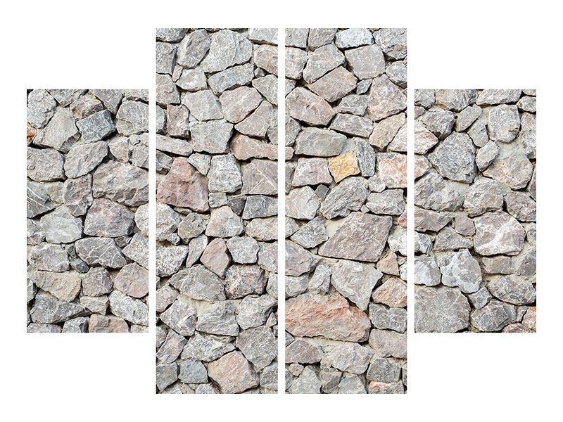 Aluminiumbild 4-teilig Grunge-Stil Mauer