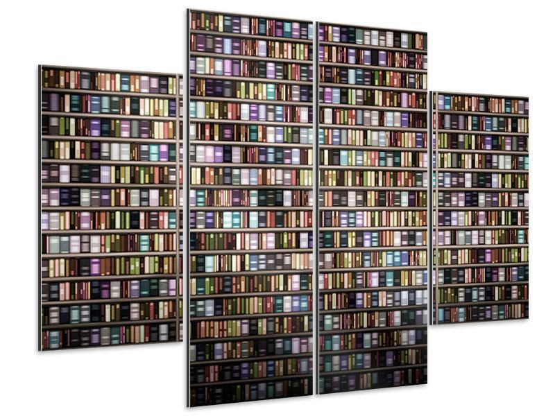 Aluminiumbild 4-teilig Bücherregal
