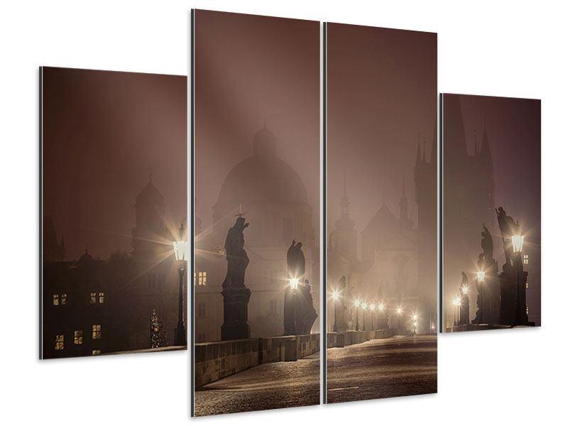Aluminiumbild 4-teilig Die Karlsbrücke bei Nacht