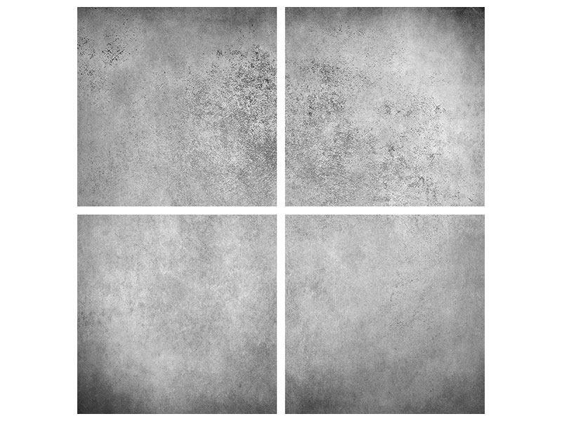 Aluminiumbild 4-teilig Graue Wandschattierungen