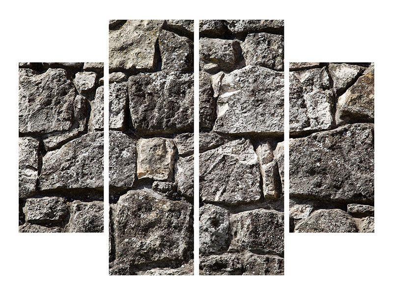 Aluminiumbild 4-teilig Grosses Mauerwerk