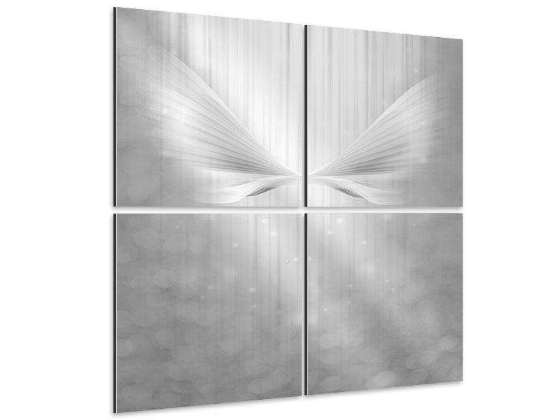 Aluminiumbild 4-teilig Engelsflügel