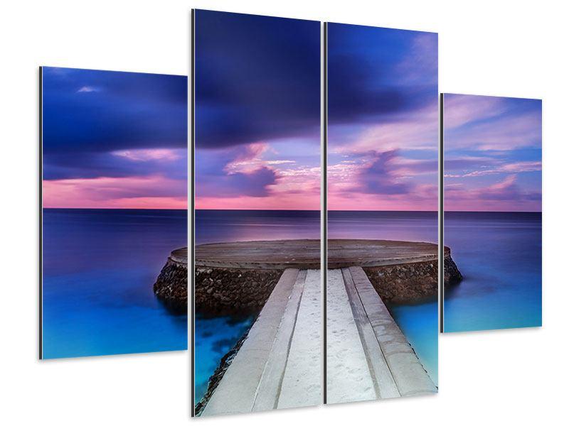 Aluminiumbild 4-teilig Meditation am Meer