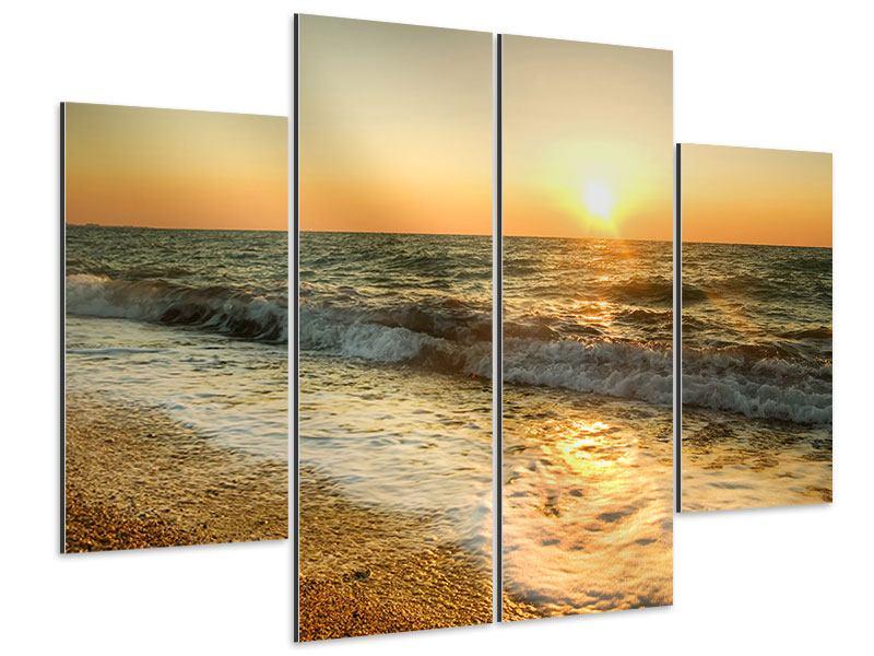Aluminiumbild 4-teilig Sonnenuntergang am Meer