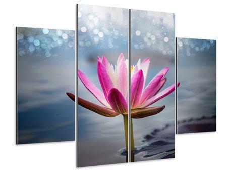 Aluminiumbild 4-teilig Lotus im Morgentau