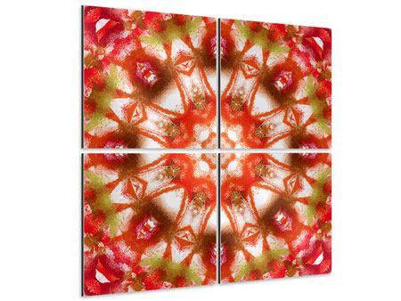 Aluminiumbild 4-teilig Geometrisches Gemälde