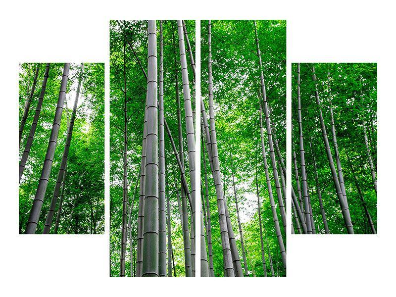 Aluminiumbild 4-teilig Bambuswald