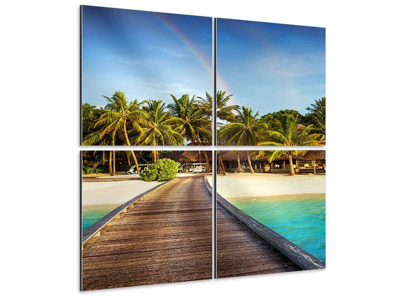 Aluminiumbild 4-teilig Inselparadies
