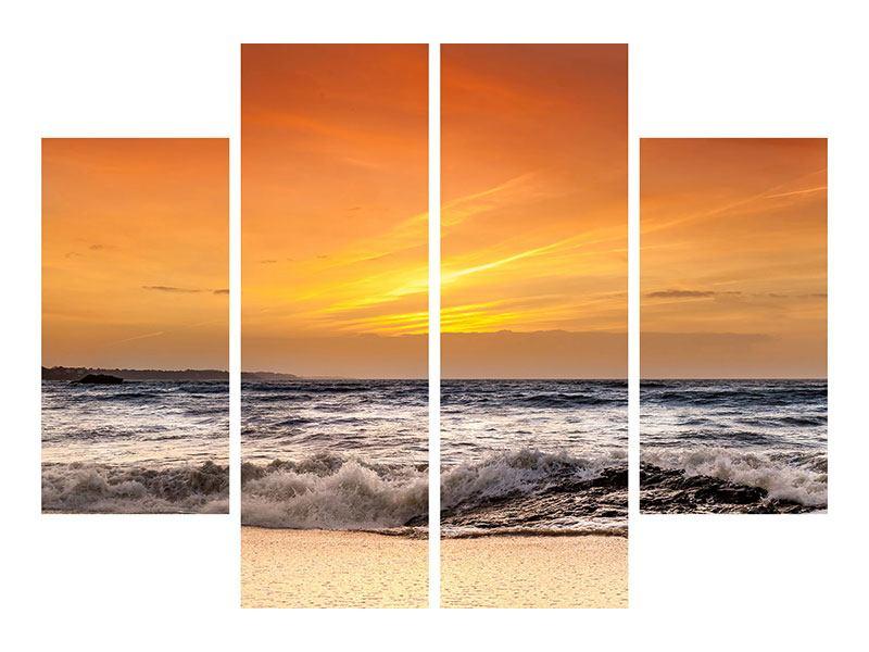 Aluminiumbild 4-teilig See mit Sonnenuntergang