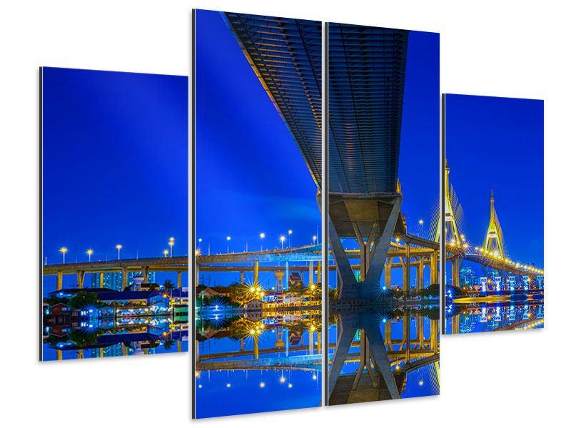 Aluminiumbild 4-teilig Bhumiboll-Brücke