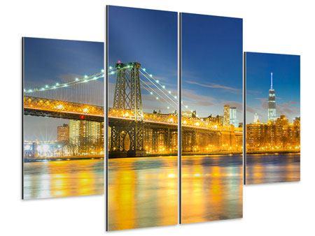 Aluminiumbild 4-teilig Brooklyn Bridge bei Nacht