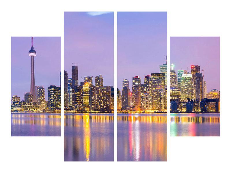 Aluminiumbild 4-teilig Skyline Toronto bei Nacht