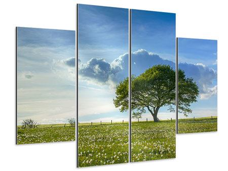 Aluminiumbild 4-teilig Frühlingsbaum