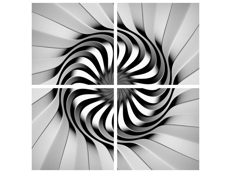 Aluminiumbild 4-teilig Abstrakte Spirale