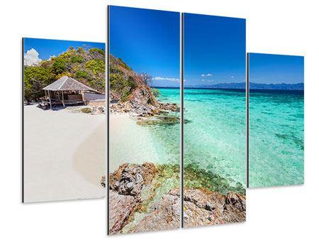 Aluminiumbild 4-teilig Das Haus am Strand