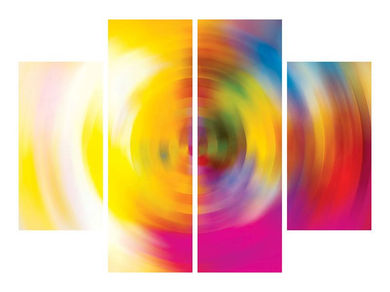 Aluminiumbild 4-teilig Abstrakte Farbkreise