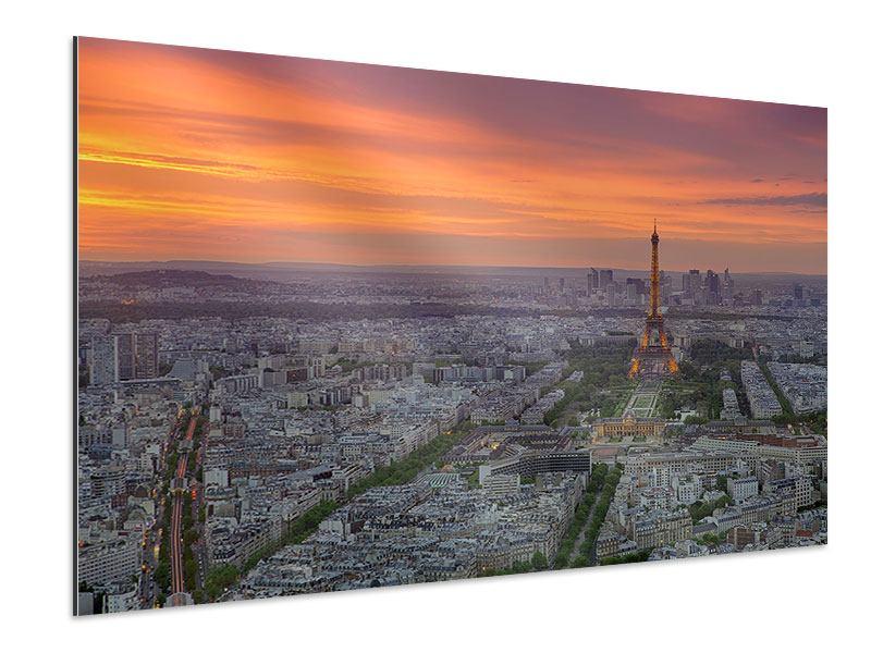 Aluminiumbild Skyline Paris bei Sonnenuntergang