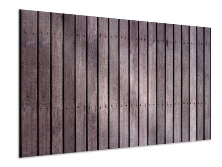 Aluminiumbild Holzwand