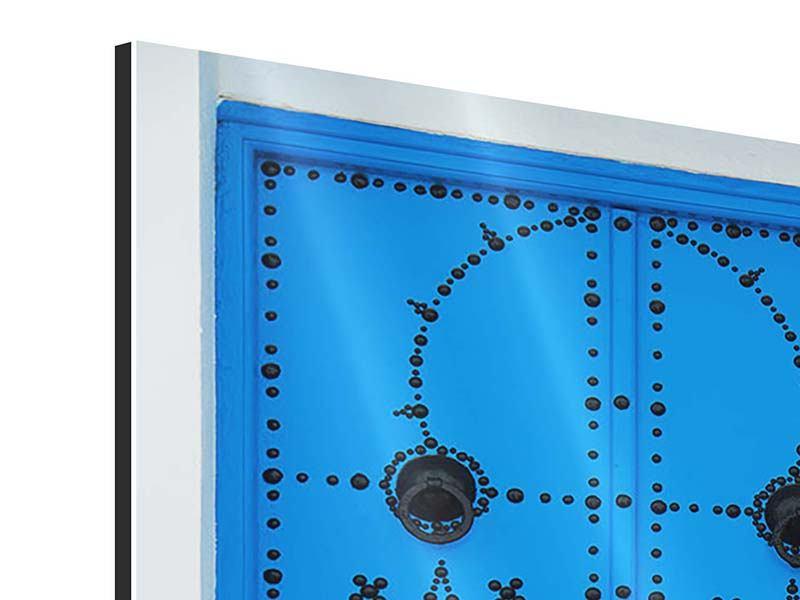 Aluminiumbild Blaue Holztür