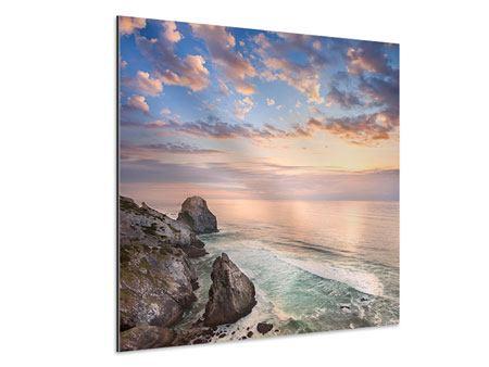 Aluminiumbild Romantischer Sonnenuntergang am Meer