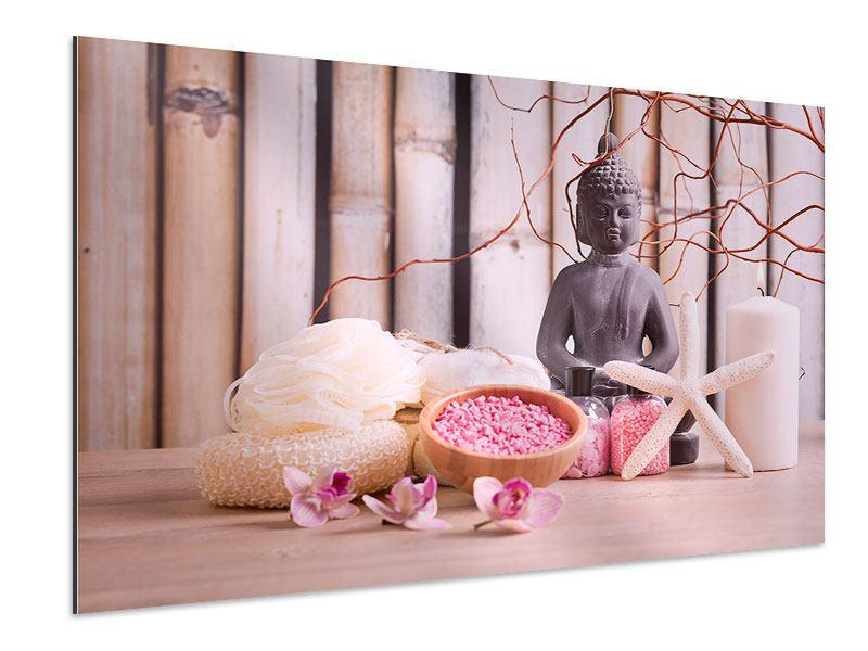 Aluminiumbild Spa + Buddha
