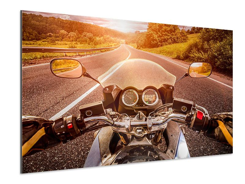 Aluminiumbild Motorrad-Tour
