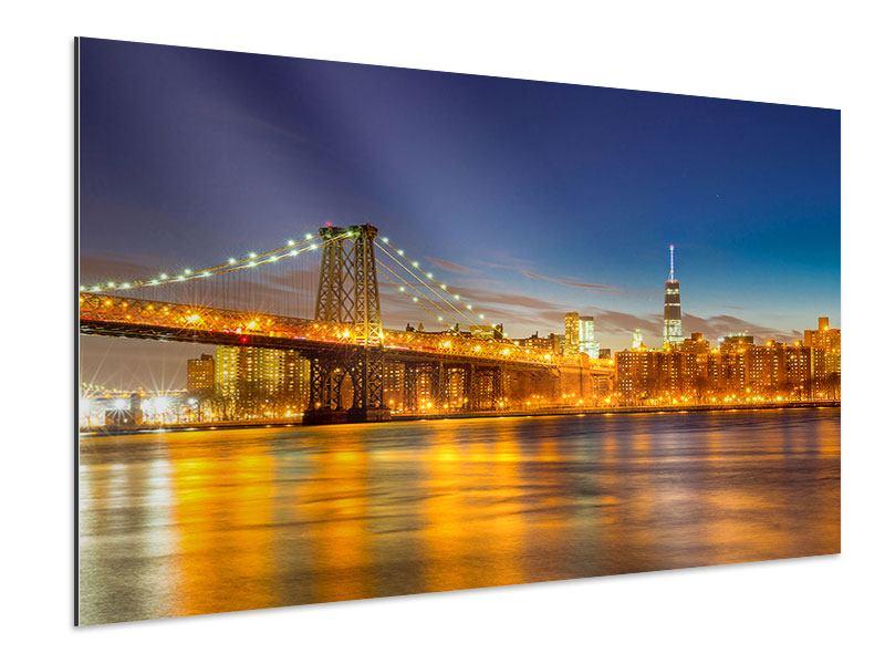 Aluminiumbild Skyline NY Williamsburg Bridge