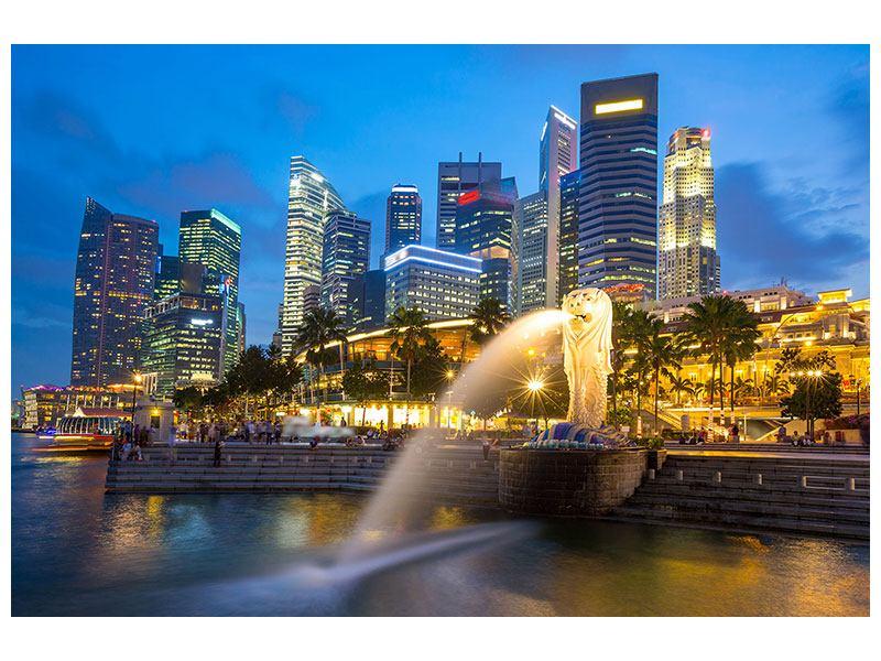 Aluminiumbild Skyline Singapur im Lichtermeer