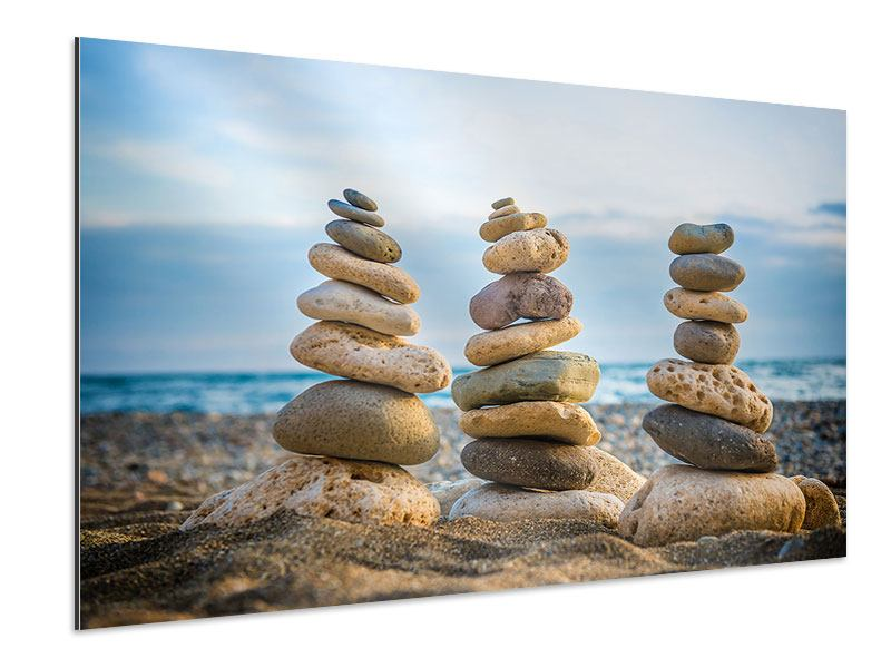 Aluminiumbild Drei Steinstapel