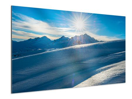 Aluminiumbild Ein Wintermärchen in den Bergen