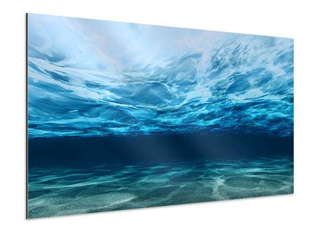 Aluminiumbild Lichtspiegelungen unter Wasser