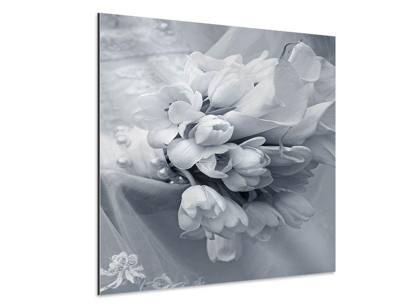 Aluminiumbild Romantisches Tulpenbukett