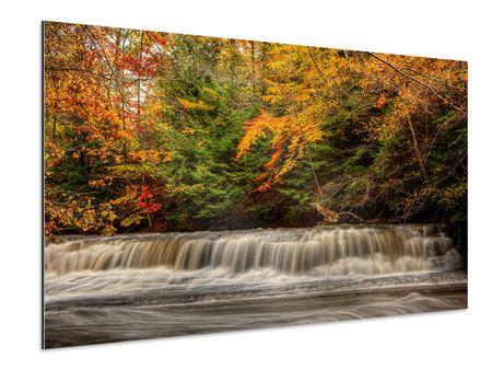 Aluminiumbild Herbst beim Wasserfall