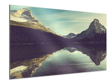 Aluminiumbild Spiegelung im Bergsee