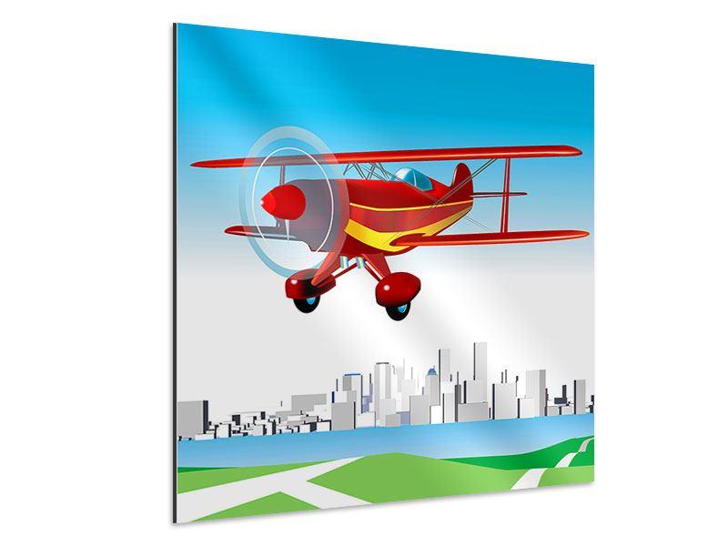Aluminiumbild Fliegendes Flugzeug
