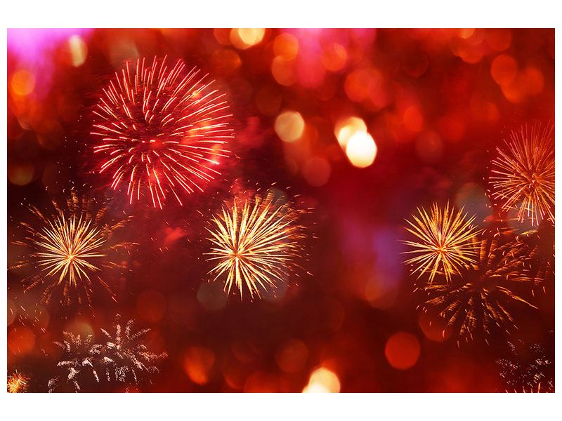 Aluminiumbild Buntes Feuerwerk