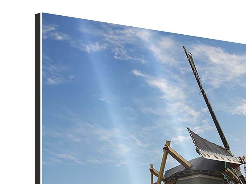Aluminiumbild Die Windmühle mit den Tulpen