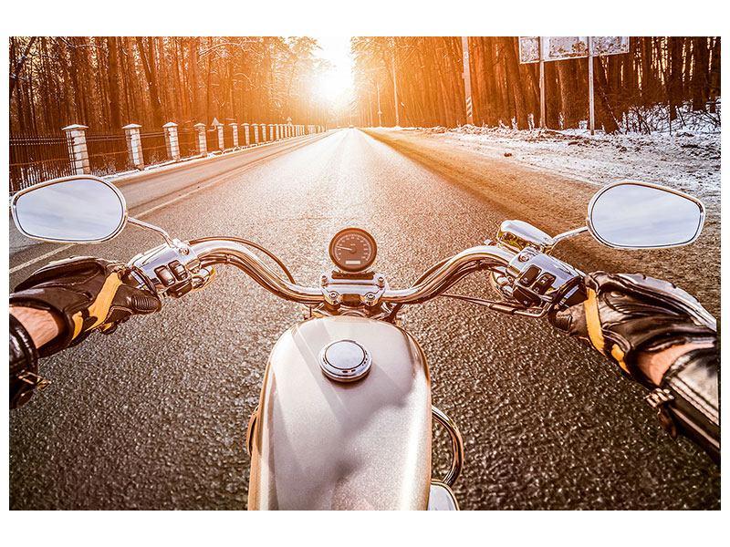 Aluminiumbild Auf dem Motorrad