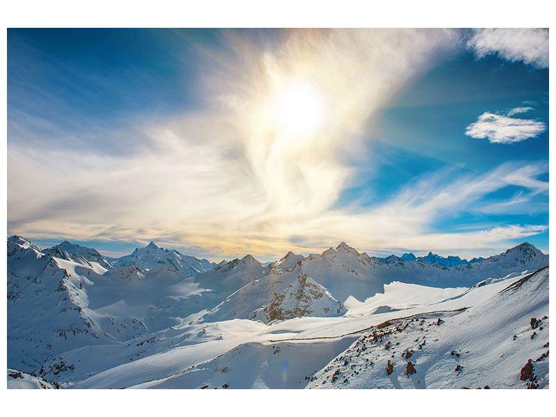 Aluminiumbild Über den verschneiten Gipfeln